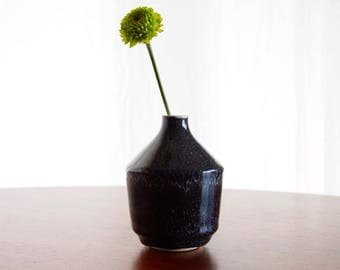 Modern Bud Vase - Black with White Speckles