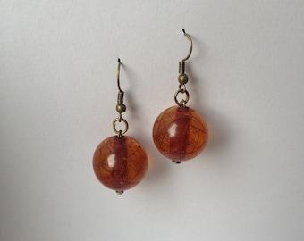 Light braun amber-lava earrings