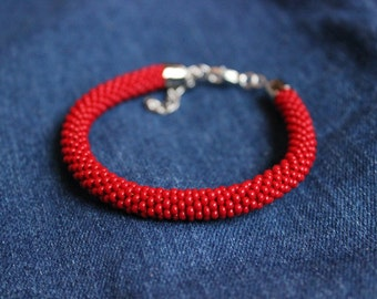 seed bead crochet bracelet Red color