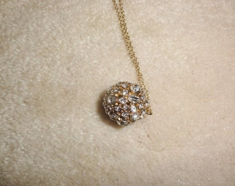 """Vintage Rhinestone Orb Necklace 15"""" Long Chain"""