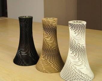 "Large original design Vase - carton & glass ""Envol"" - black, white, raw"