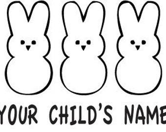 """Custom """"name"""" Easter peeps- Vinyl Decal - Multiple colors and sizes to choose from!!!"""