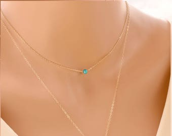 Choker Necklace with tiny aqua blue bead - Gold Filled, Sterling Silver, Delicate and Dainty Short Layering Necklace turquoise teal baby