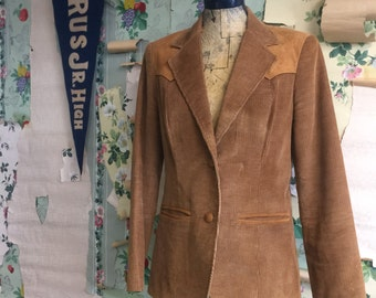 Vintage 1970s Ms Pioneer Corduroy and Suede Blazer. Medium/Large. Leather and camel colored corderoy