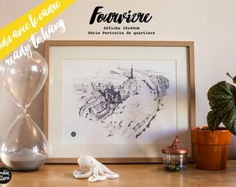"""Affiche """"Fourvière"""" encadrée, Série """" Portraits de quartiers"""", 30x40cm"""