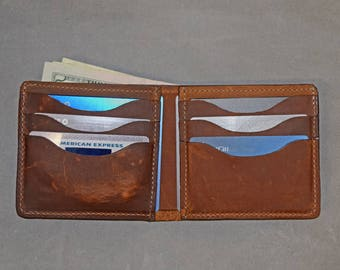 Copper Rough & Tough Leather Wallet, SB Foot Pull-up Wallet, Men's Bifold Wallet, Made in USA Wallet, Credit Card Wallet, Distressed Wallet