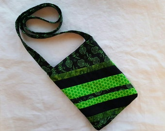 Quilted Crossbody Bag - Green and Black