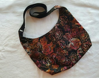 Crossbody Hobo Bag - Roses Batik