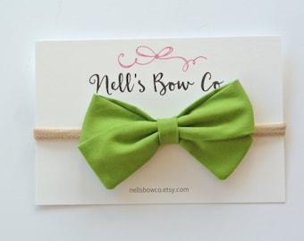 GRASS - Baby, Toddler, Girls, Fabric, Hair Bow, Headband, Hair Clip, Hair Accessories, Folded Hair Bow, Baby Shower Gift