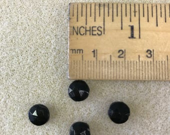 Vintage Glass Nail Heads - 8mm Round Black 1-hole