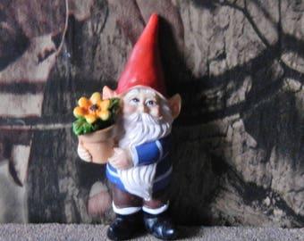 """30007599D Fairy Garden Gnome with Flowerpot - 3 1/4"""" tall x 1 5/8"""" wide x 2"""" deep - 1 pkg"""