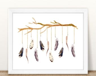 "Feathers with Branch Print | 8"" x 10"" 
