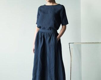 Midnight blue linen skirt/ blue pleated skirt/ midi skirt for women/