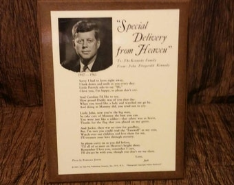 Special Delivery from Heaven, JFK Plaque, free shipping