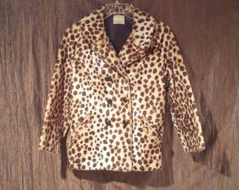 Styled by Winter Vintage fake fur leopard jacket, size medium, free shipping