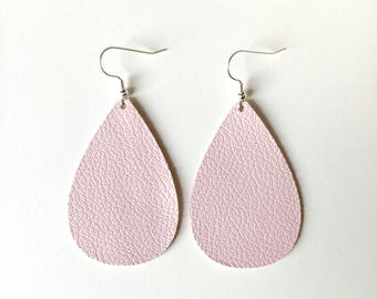 Blush Pink Leather Earrings