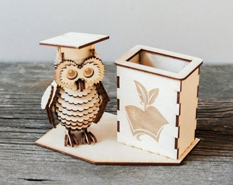 Personalized pen holder with owl, Case for pens, Fountain Pen, Fountain Pen Holder,Wood Pen Holder