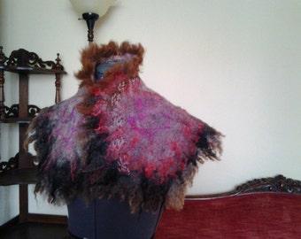 Woman felted scarf poncho