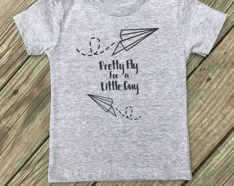 Trendy Boys Graphic Tee, Toddler, Pretty Fly for a Little Guy, Funny Toddler Tee, Youth T-Shirt, shirts with sayings, airplane shirt, Paper