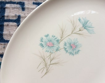 1950 Vintage Taylor Smith Taylor Boutonniere Ever Yours Platter Farmhouse Kitchen Blue Pink Carnation Flower - Mother's Day - Wedding Gift