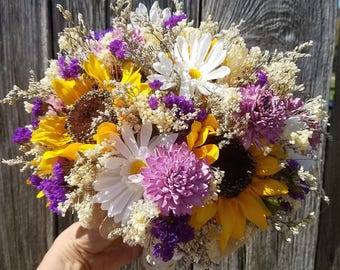 rustic sunflower wedding bouquet wildflower wedding dried flower bouquet burlap lace babys breath