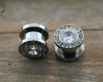 00g 316L steel  plugs with Clear CZ