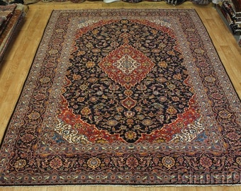 Fine Traditional Navy Blue Kashan Persian Wool Oriental Area Rug Carpet 10X13