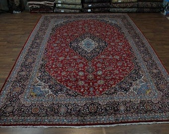 Excellent Quality Palace Size Red Kashan Persian Oriental Area Rug Carpet 12X17