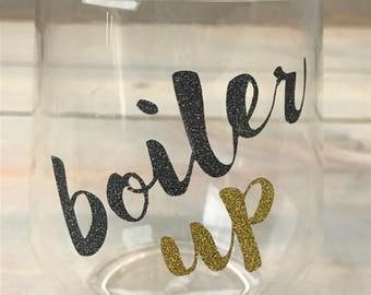 Purdue Wine Glass - Purdue University - Graduation Gift - Purdue Boilermakers - Boiler Up - Boilers - College Glass - Wine Gift
