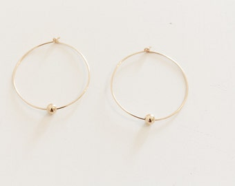 Gold Bead Hoop Earrings / Gold Hoop