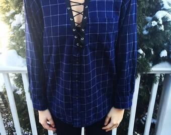 ON SALE Vintage Navy Blue Lace-Up Flannel