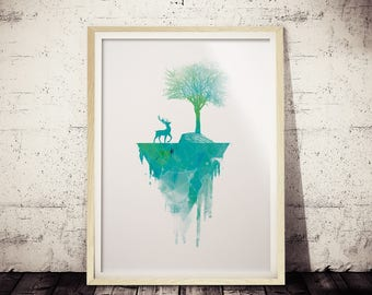 Minimal Polygonal Watercolor Art Print, Minimalist Nature Print, Nature Print, Modern Apartment Wall Print, Geometric Art, Minimal Deer Art