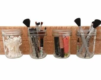 Reclaimed Wood Mason Jar Organizer - makeup organizer bathroom organization bathroom decor bathroom wall decor mason jar wall decor holder