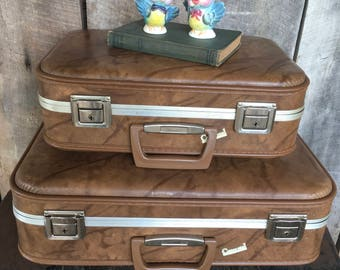 Vintage suitcase luggage brown suitcase wedding set travel bag decor stacking carousel storage vacation cottage cabin country retro