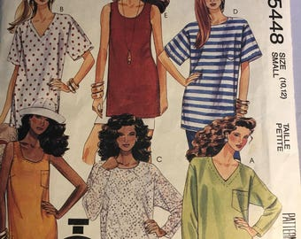 5448 McCalls Vintage Ladies Tunic Top Sizes 10-12