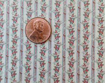 Dollhouse Miniature One Inch Scale 1:12 Wallpaper Caroline Stripe #4032