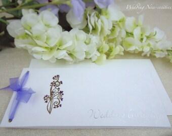 Purple Floral Chequebook Invitation