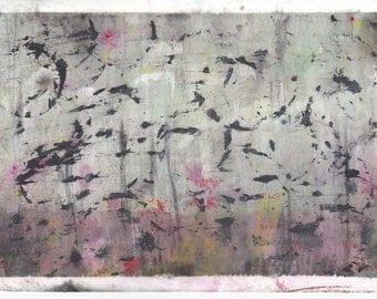 original abstract artwork flock of birds skyline atmosphere