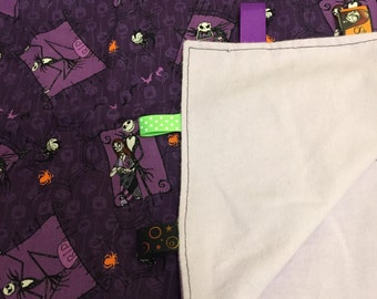 Flannel backed Nightmare Before Christmas Baby Blanket with Ribbon Tags- large enough for a toddler
