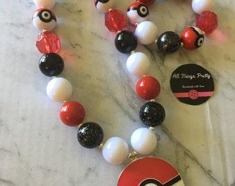 Pokemon bubblegum bead necklace & bracelet set