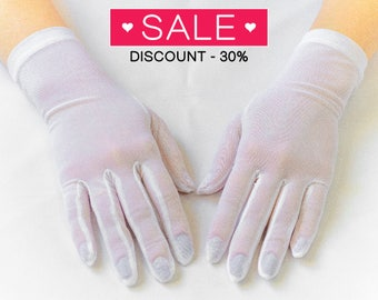 Vintage wedding gloves, bridal gloves, White finger gloves 14