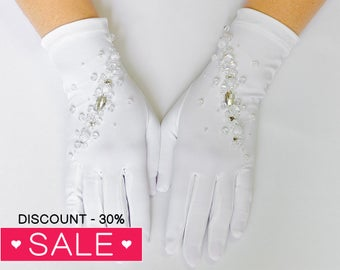 White Gloves, White wedding gloves, bridal gloves, finger gloves 19