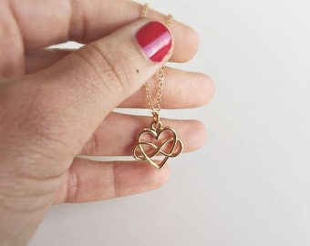 Maid of honor necklace GOLD with love, Infinity gift, filigree jewelry in gold