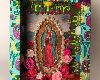 Virgin of Guadalupe with Pearls Altar Box - Shrine