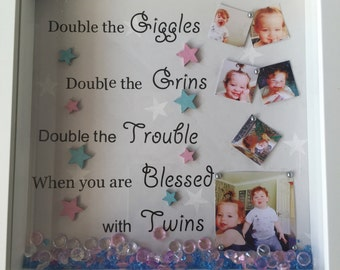 Twins frame, New Twins Gift , Twice The Fun, New Parents, Grandparents