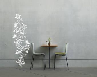 Flowers and Butterflies on Vine wall vinyl