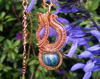 Kyanite, wire weaved with copper