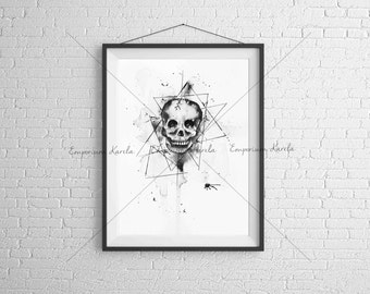 Watercolor - Skull - PRITNTABLE - Handmade
