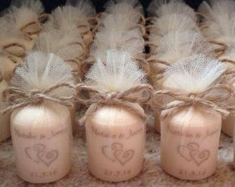 Vintage style shabby chic 5cm scented votive candle personalised wedding favours (set of 65)