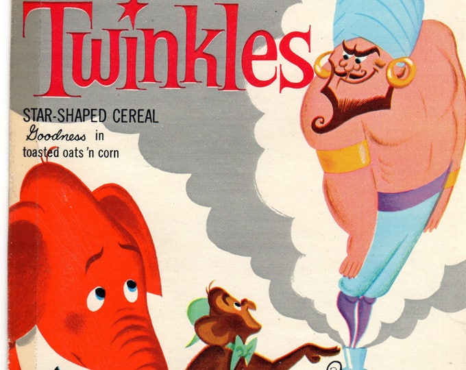 1960's Twinkles General Mills Cereal Box Book Twinkles and the Magic Lamp